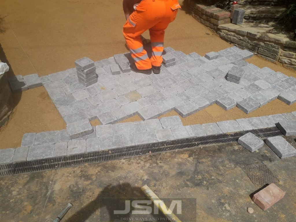 Driveway being paved in Rickmansworth