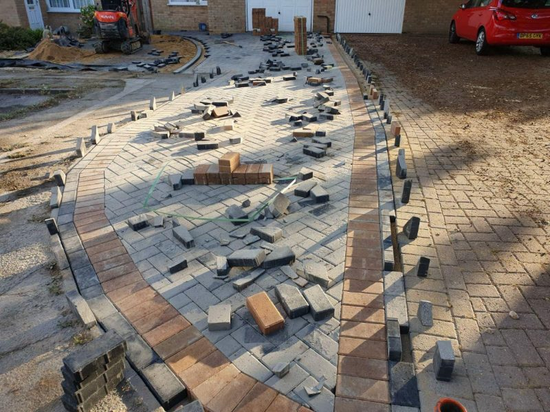 New Driveway With Block Paving and Extended Area For Parking With Permeable Gravel